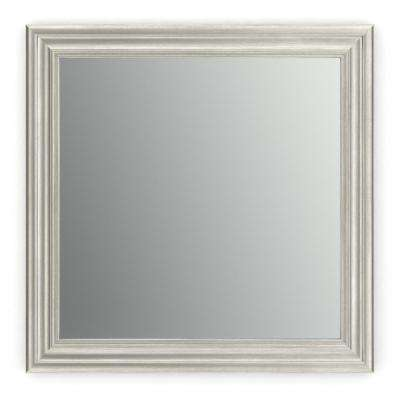 33 in. x 33 in. (L2) Square Framed Mirror with Standard Glass and Easy-Cleat Flush Mount Hardware in Vintage Nickel