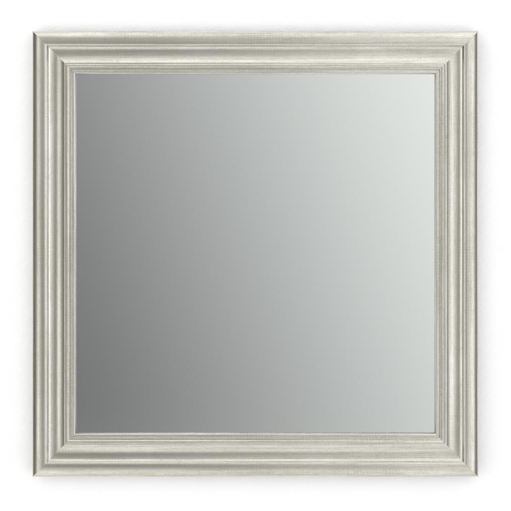 Delta 33 in. x 33 in. (L2) Square Framed Mirror with Standard Glass and Easy-Cleat Flush Mount Hardware in Vintage Nickel
