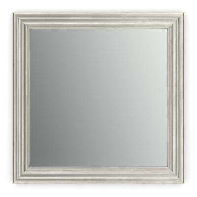 33 in. W x 33 in. H (L2) Framed Square Standard Glass Bathroom Vanity Mirror in Vintage Nickel