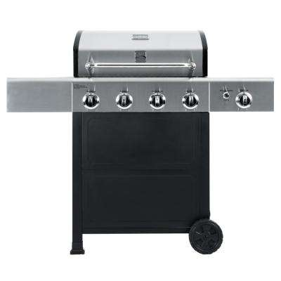 4 Burner Propane Gas Grill in Black & Stainless Steel with Side Burner