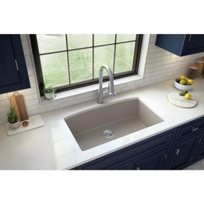Undermount Quartz Composite 32 in. Single Bowl Kitchen Sink in Concrete