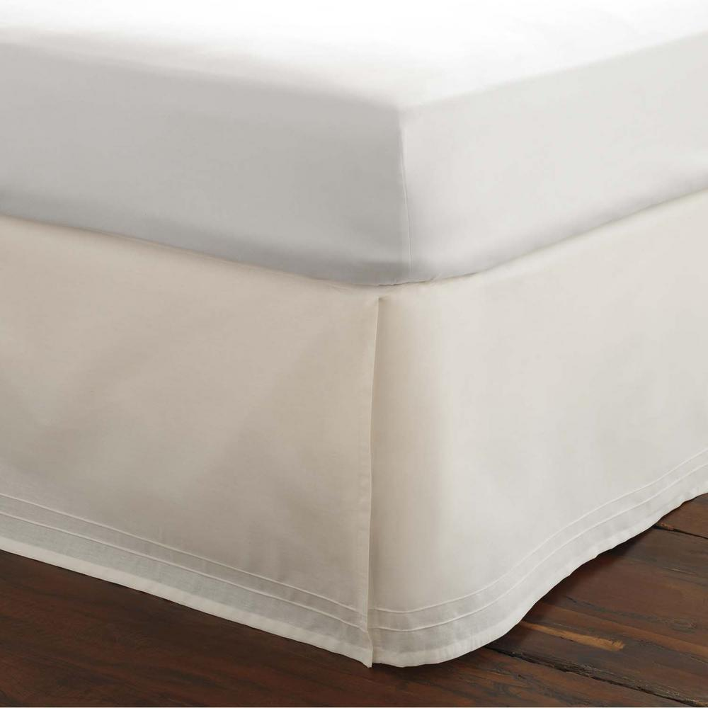 39 in. x 75 in. Solid White Twin Tailored Bed Skirt