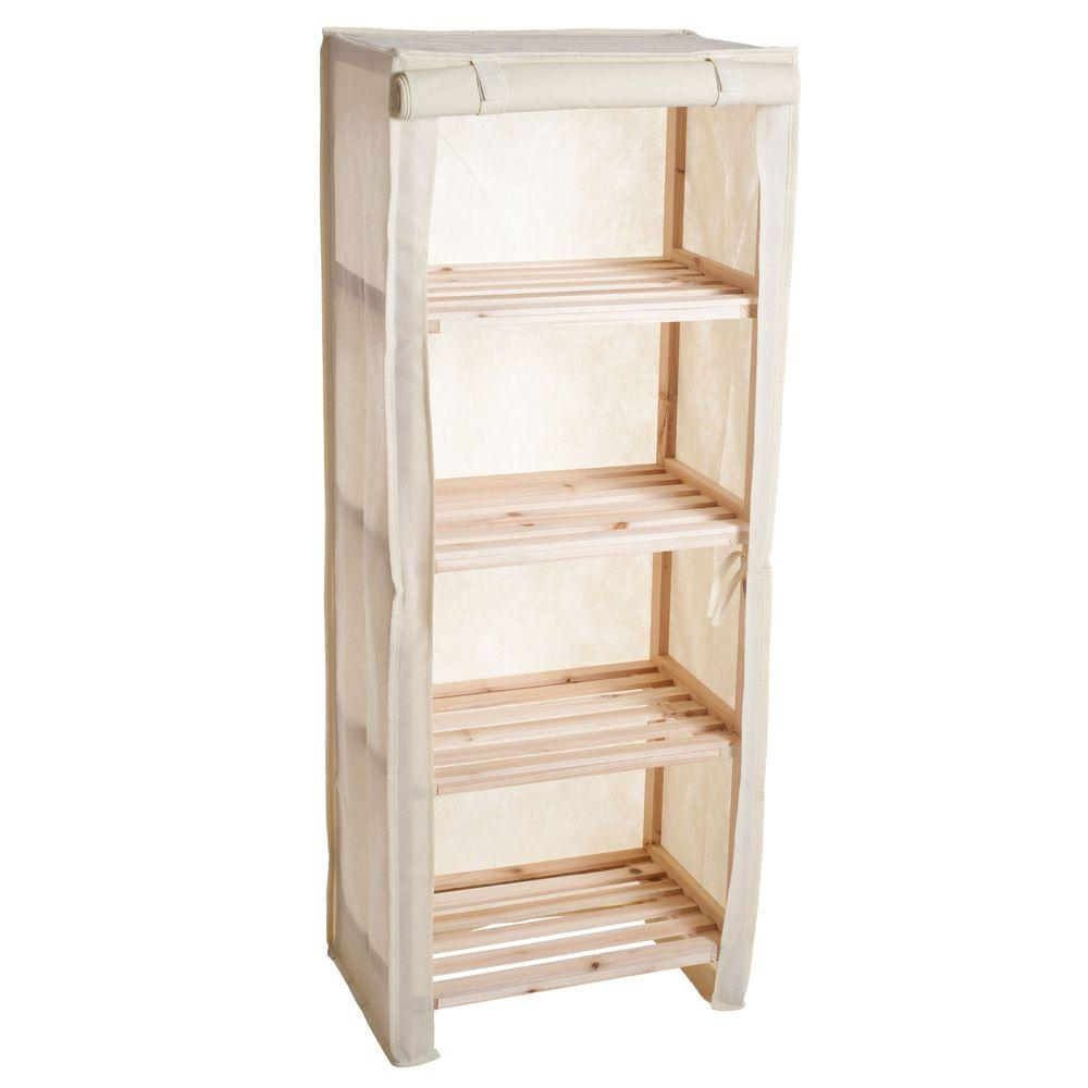Lavish Home 4-Tier Wood Storage Shelving Rack with Removable Cover ...