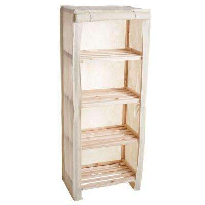 4-Tier Wood Storage Shelving Rack with Removable Cover