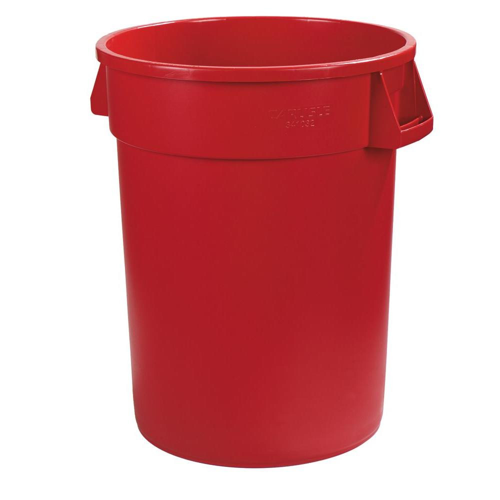 Carlisle Bronco 10 Gal Red Round Trash Can 6 Pack