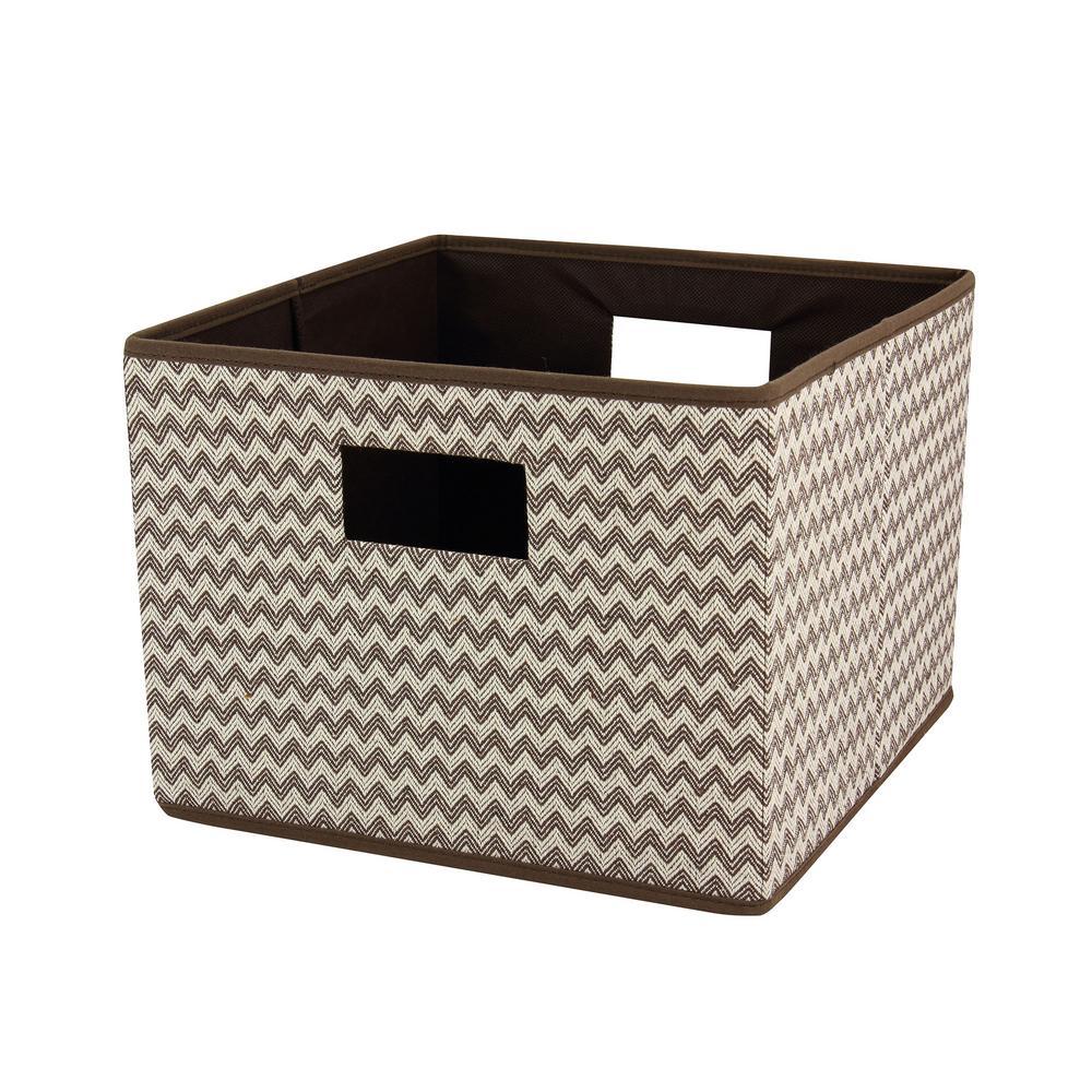 Brown Chevron Pattern Cotton Blend Canvas Square Open Storage Bin with Handles
