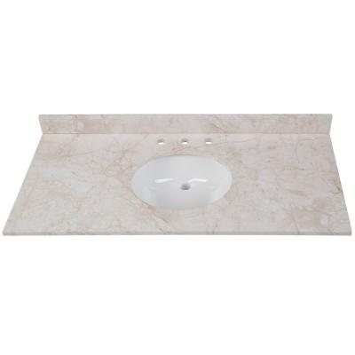 49 in. W x 22 in. D Stone Effects Vanity Top in Dune with White Sink