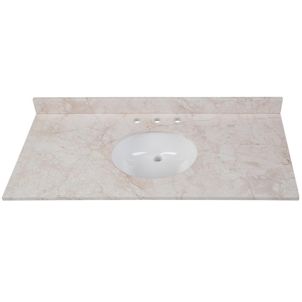 Design House 586305 Cultured Marble Vanity Top 49x19 White Vanity Sink Tops