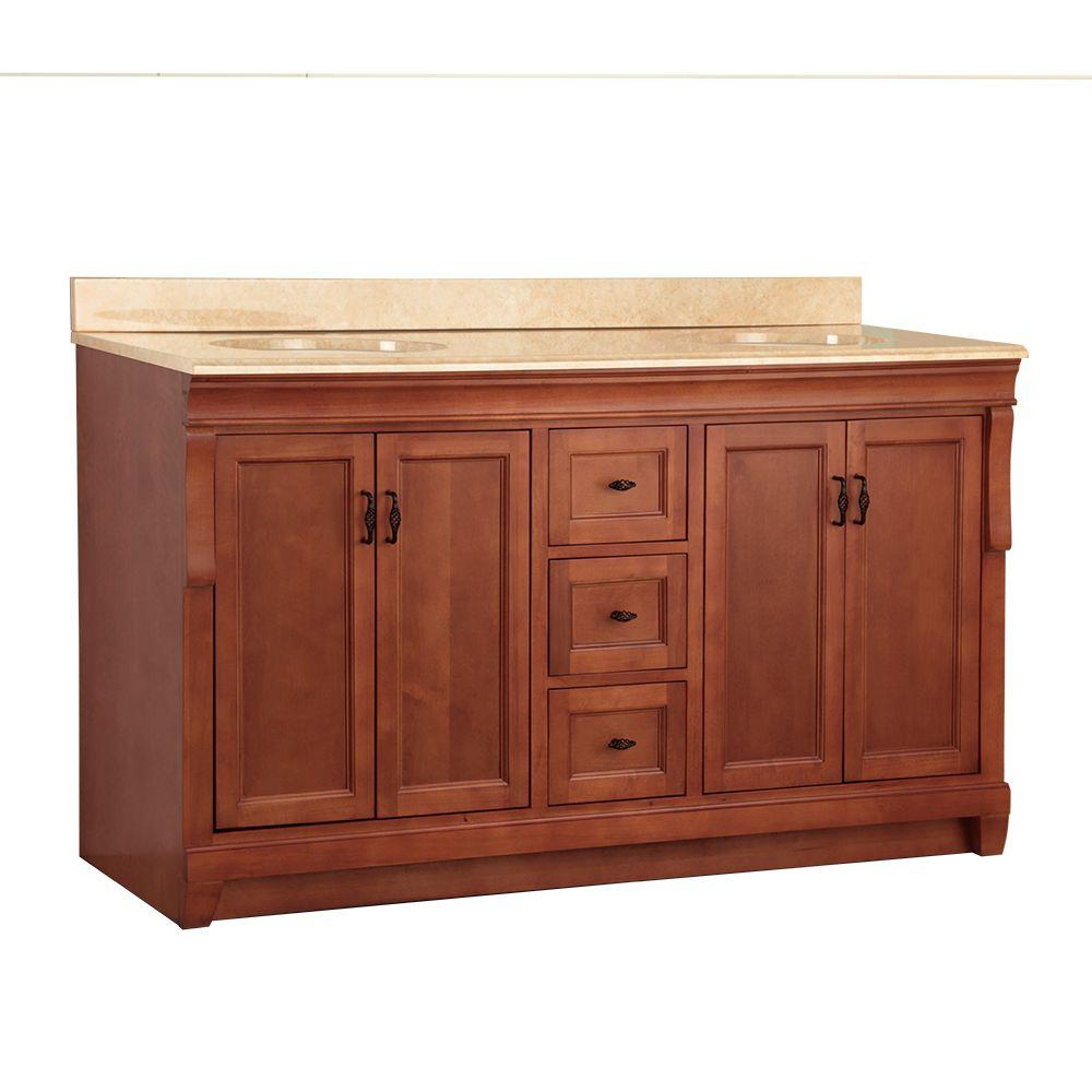 Home Decorators Collection Naples 61 in. W x 22 in. D Double Sink Vanity in Warm Cinnamon with Vanity Top and Stone Effects in Oasis