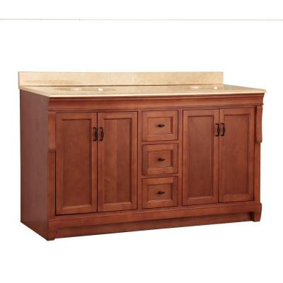 Naples 61 in. W x 22 in. D Double Sink Vanity in Warm Cinnamon with Vanity Top and Stone Effects in Oasis