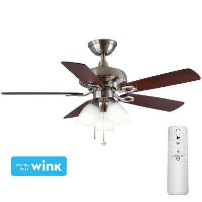 St. David 44 in. LED Brushed Nickel Smart Ceiling Fan with Light Kit and WINK Remote Control