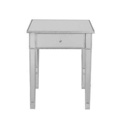 Silver and Clear Mirrored Table with Single Drawer