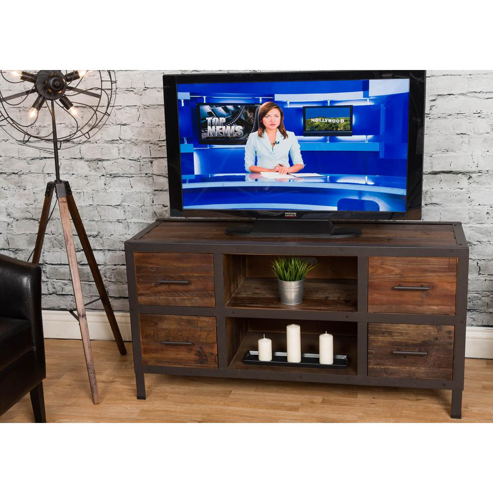 Crawford Burke Topanga Distressed Natural Reclaimed Fir Wood Four Drawer Tv Stand