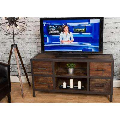 Topanga Distressed Natural Reclaimed Fir Wood Four Drawer TV Stand