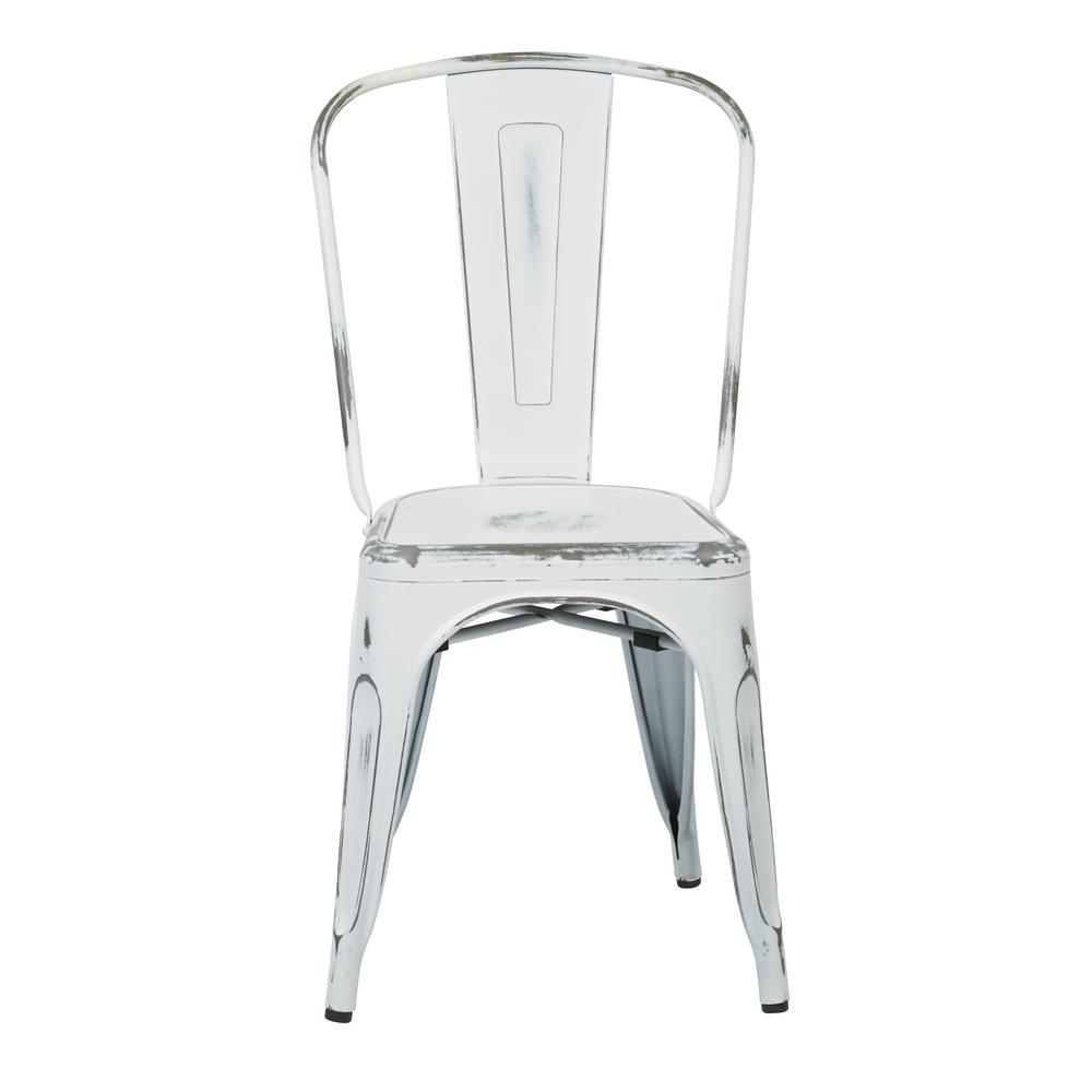 OSP Designs Bristow Antique White Metal Side Chair (Set Of 4)