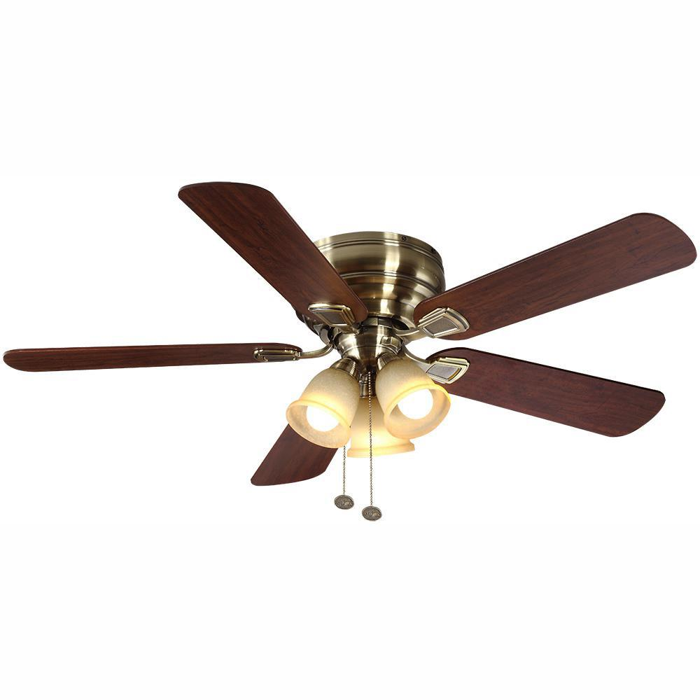 Hampton Bay Fairfield 52 in. LED Indoor Antique Brass Ceiling Fan with Light Kit