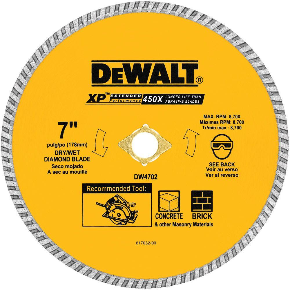 Dewalt 7 in concrete and brick diamond circular saw blade dw4702 concrete and brick diamond circular saw blade keyboard keysfo Choice Image
