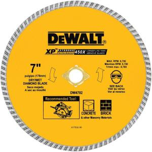 Dewalt 7 in concrete and brick diamond circular saw blade dw4702 concrete and brick diamond circular saw blade dw4702 the home depot greentooth Gallery