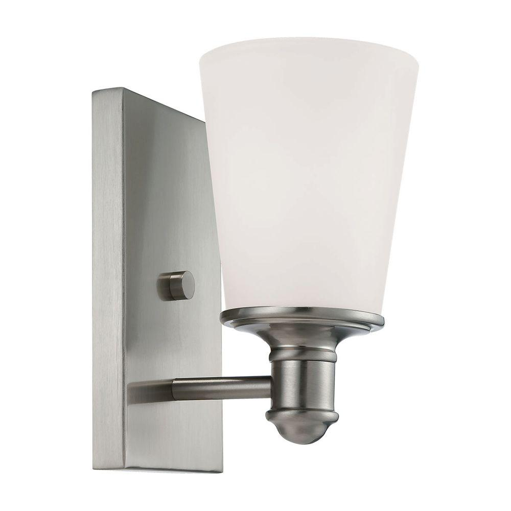 Wall Sconce White Glass : Millennium Lighting Satin Nickel Wall Sconce with Etched White Glass-2161-SN - The Home Depot