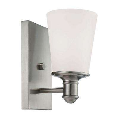 Satin Nickel Wall Sconce with Etched White Glass