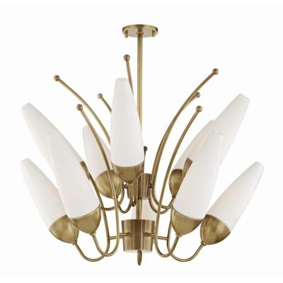 Amee 10-Light Aged Brass Chandelier with Opal Matte Glass Shade