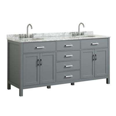 Hampton 73 in. W x 22 in. D Bath Vanity in Grey with Marble Vanity Top in White with White Basin