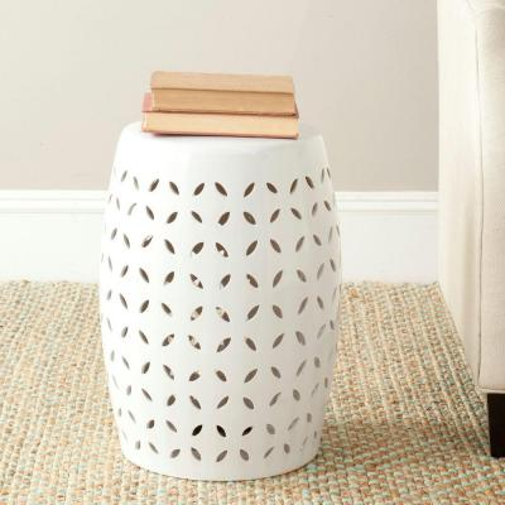 Lattice Petal White Ceramic Garden Stool