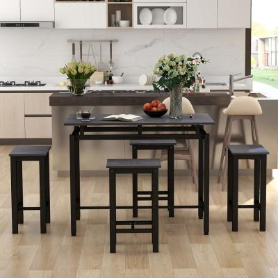 5-Piece Espresso Wood and Metal Accent Dining Set
