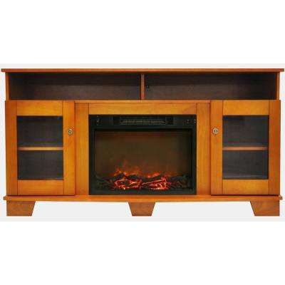 Glenwood 59 in. Electric Fireplace in Teak with Entertainment Stand and Charred Log Display