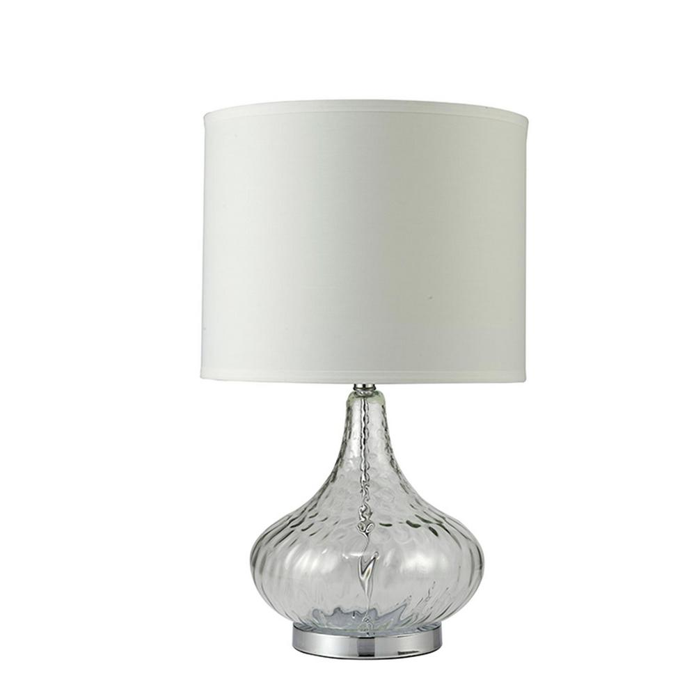Ore International Leann 24 5 In Clear Gl And Silver Chrome Table Lamp With White Linen