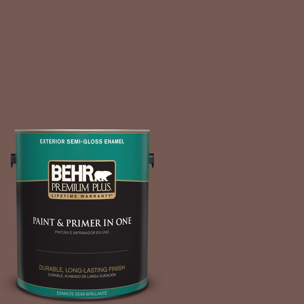 1-gal. #220F-7 Yorkshire Brown Semi-Gloss Enamel Exterior Paint