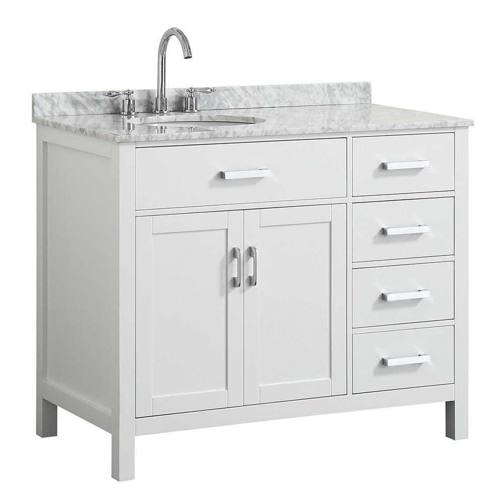 Belmont Decor Hampton 43 In W X 22 D Bath Vanity White With Marble Top Basin