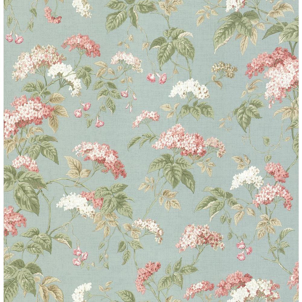 Brewster Madison Florals Blue Morning Glory Wallpaper Sample