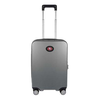 NFL San Francisco 49ers Premium Silver 22 in. 100% PC Hardside Carry-On Spinner w/ Charging Port Suitcase