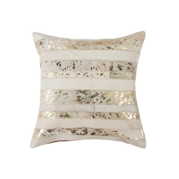 natural Torino Madrid Cowhide 18 in. x 18 in. Natural/Gold Pillow