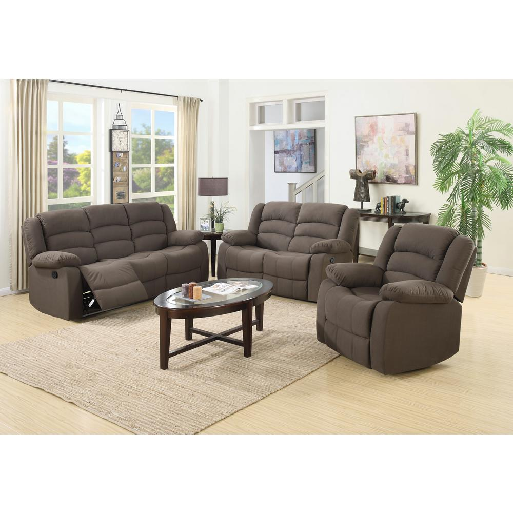Ellis Contemporary Microfiber 3 Piece Living Room Set Brown