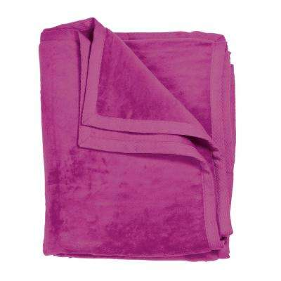 Cotton Fleece Fuchsia Woven Throw