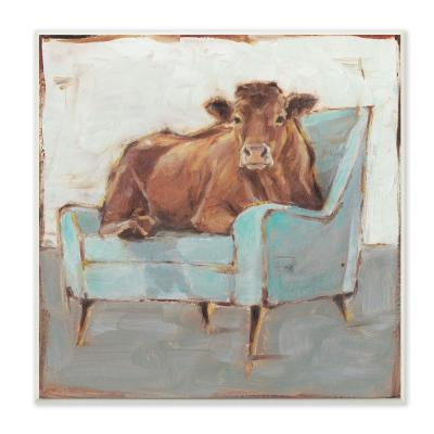 "12 in. x 12 in. ""Brown Bull on a Blue Couch Neutral Color Painting"" by Ethan Harper Wood Wall Art"