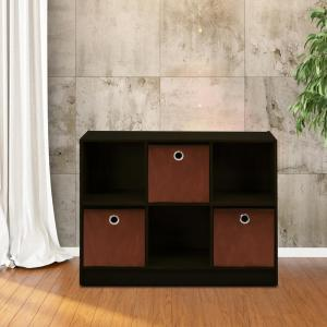 Basic Espresso 6-Cube Bookcase with Storage Bins