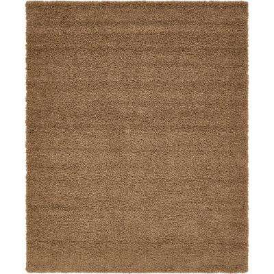 Solid Shag Sandy Brown 9 X 12 Rug