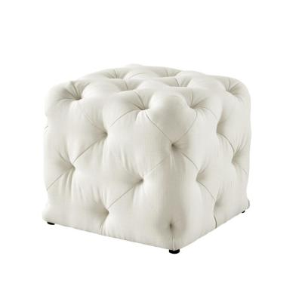 Genevieve Cream White Cube Tufted Upholstered Linen Ottoman