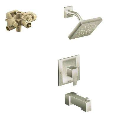 90 Degree Single-Handle 1-Spray Moentrol Tub and Shower Faucet with Valve in Brushed Nickel (Valve Included)