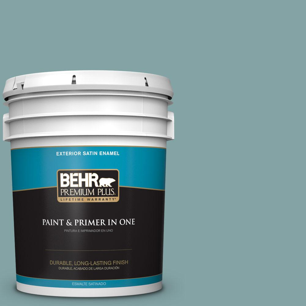 5 gal. #MQ6-7 Schooner Satin Enamel Exterior Paint and Primer in