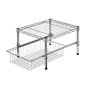 Interior Cabinet Shelf Organizers honey can do 11 in h x 15 w 18 d adjustable steel shelf with basket cabinet organizer chrome shf 01867 the home depot