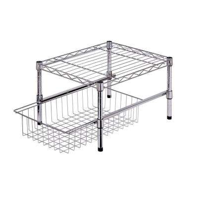 11 in. H x 15 in. W x 18 in. D Adjustable Steel Shelf with Basket Cabinet Organizer in Chrome