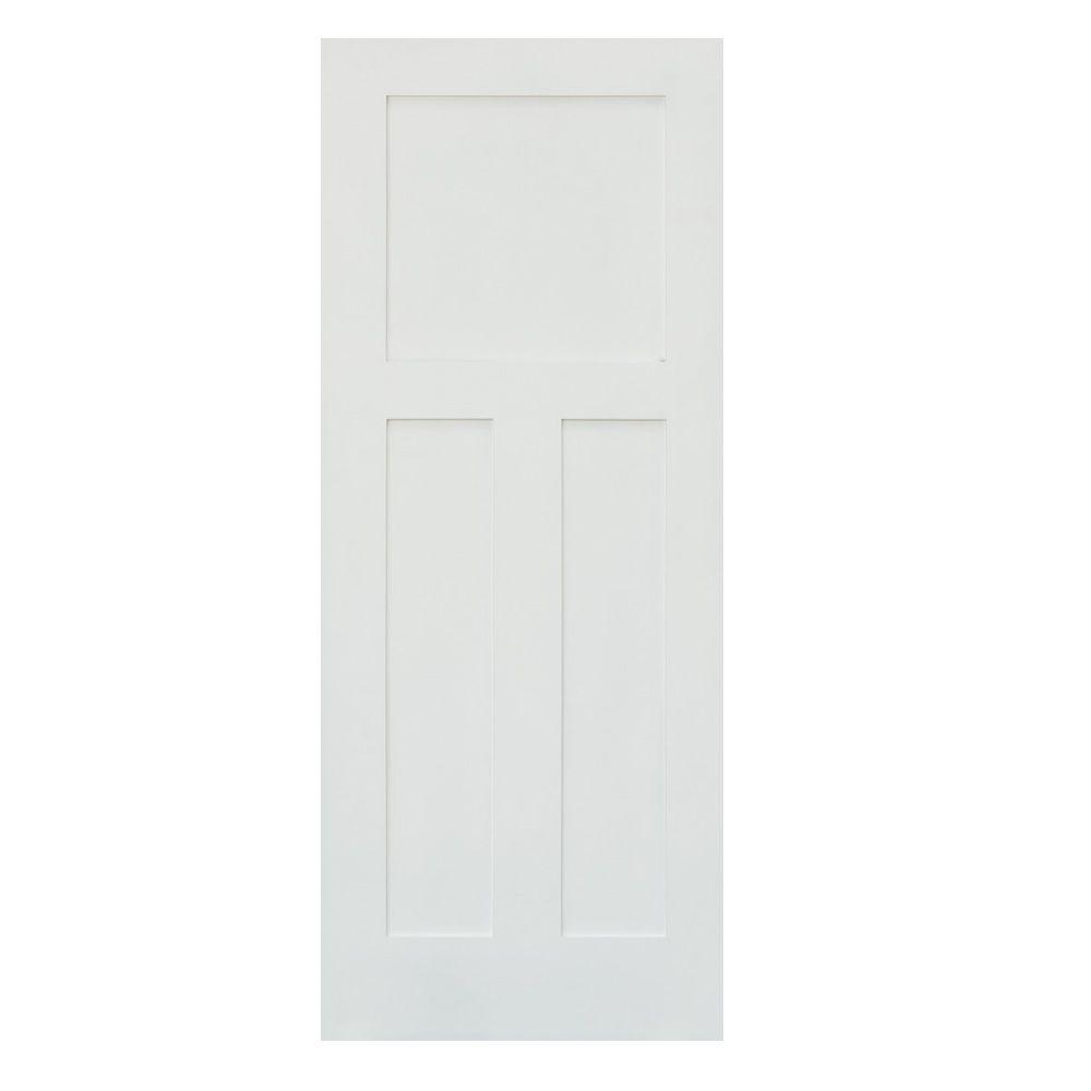 Krosswood Doors 30 in. x 80 in. Left-Hand Craftsman Shaker 3-Panel Primed Solid Hybrid Core MDF Single Prehung Interior Door