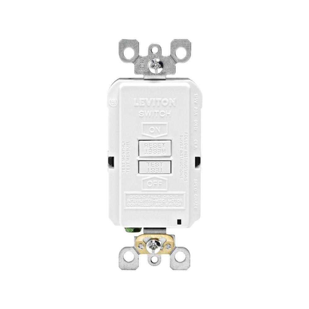 Leviton 20 Amp 125 Volt Combo Self Test Blank Face Gfci Outlet Gfi Internal Wiring Diagram White