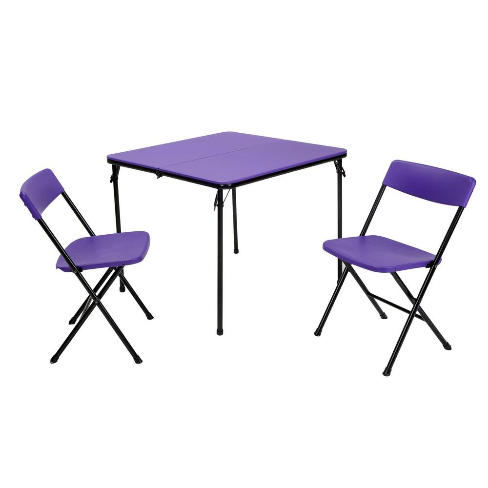 cosco 3 piece purple folding table and chair set 37334pnb1e the home depot. Black Bedroom Furniture Sets. Home Design Ideas