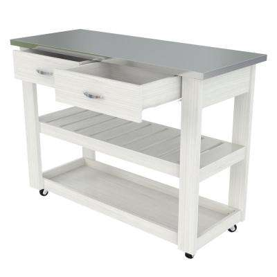 White 46.8 in. x 33.8 in. x 19.7 in. Kitchen Utility Cart with Stainless Steel Top