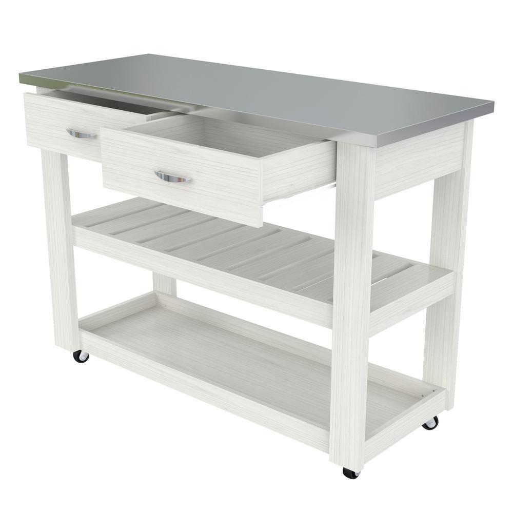 Inval White 46.8 in. x 33.8 in. x 19.7 in. Kitchen Utility ...
